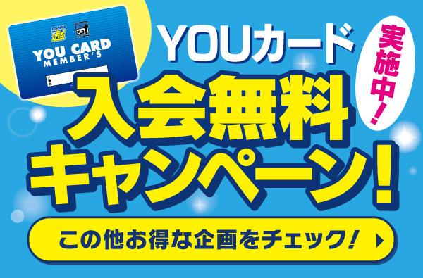 通常300円のYOUカード入会金が今なら無料!